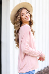 Oversized Front Pocket Top in Blush Side View