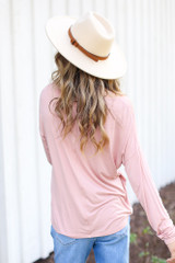 Oversized Front Pocket Top in Blush Back View