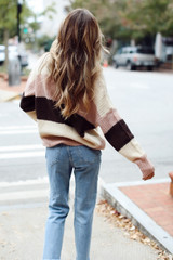Oversized Striped Sweater Back View