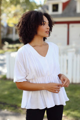 Crochet Babydoll Top in Ivory Front View