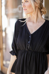 Black - Dress Up model wearing a Crochet Babydoll Top with jeans