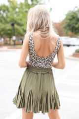 Swing Skirt in Olive Back View