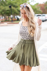 Swing Skirt in Olive Front View