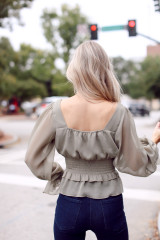 Smocked Blouse in Olive Back View