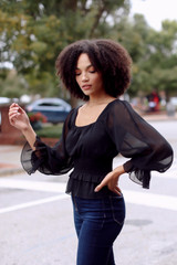 Smocked Blouse in Black Side View