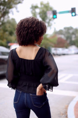 Smocked Blouse in Black Back View