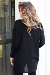 Oversized Waffle Knit Top in Black Back View
