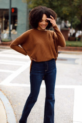 Oversized Waffle Knit Top in Brown Front View