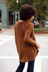 Oversized Waffle Knit Top in Brown Back View