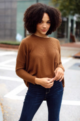 Brown - Dress Up model wearing an Oversized Waffle Knit Top with jeans