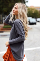 Charcoal - Model wearing charcoal waffle knit top