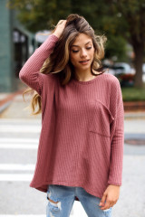 Mauve - Model wearing an Oversized Waffle Knit Top with distressed jeans