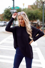 Black - Oversized Waffle Knit Top from Dress Up