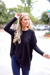 Black - Oversized Waffle Knit Top Front View