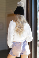Tie-Dye Lounge Shorts in Taupe Back View
