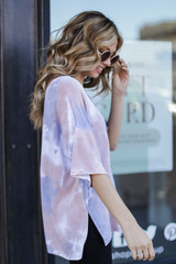 Oversized Tie-Dye Top in Taupe Side View