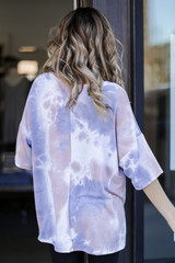 Oversized Tie-Dye Top in Taupe Back View
