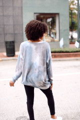 Oversized Tie-Dye Pullover in Blue Back View