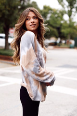 Oversized Tie-Dye Pullover in Brown Side View