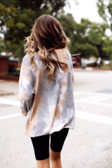 Oversized Tie-Dye Pullover in Brown Back View