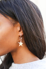 Gold - Star Drop Earrings