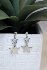 Silver - Star Drop Earrings Front View