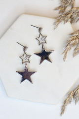 Silver - Flat Lay of Star Drop Earrings