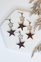 Flat Lay of both of the Star Drop Earrings