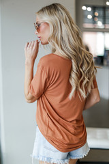 Basic Front Pocket Tee in Rust Back View