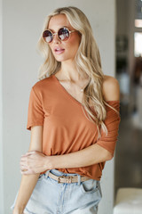 Basic Front Pocket Tee in Rust Front View