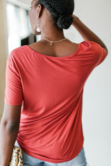 Basic Front Pocket Tee in Marsala Back View