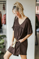Babydoll Dress in Brown Side View