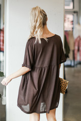 Babydoll Dress in Brown Back View