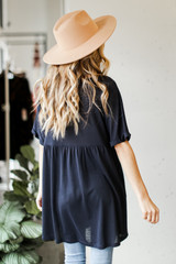 Babydoll Dress in Navy Back View