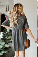 Babydoll Dress in Charcoal Back View