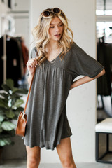Babydoll Dress in Charcoal Front View