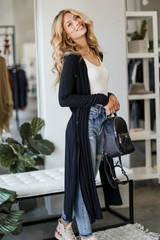 Black - Knit Duster Cardigan from Dress Up