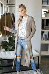 Taupe - Knit Duster Cardigan Front View