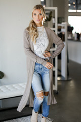 Taupe - Model wearing a Knit Duster Cardigan Front View