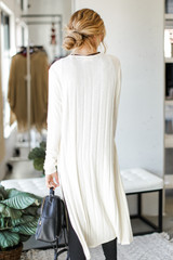 Knit Duster Cardigan in Ivory Back View