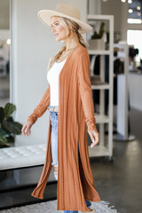 Knit Duster Cardigan in Rust Side View