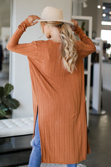 Knit Duster Cardigan in Rust Back View