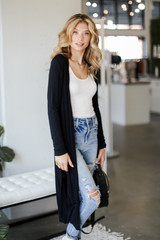 Knit Duster Cardigan in Black Front View