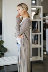 Knit Duster Cardigan in Taupe Side View