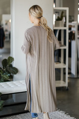 Knit Duster Cardigan in Taupe Back View