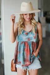 Teal - Tie-Dye Babydoll Tank from Dress Up