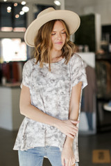 Taupe - Oversized Tie-Dye Top