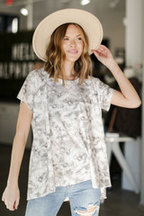 Taupe - Oversized Tie-Dye Top from Dress Up