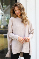 Taupe - Model wearing an Oversized Brushed Knit Sweater
