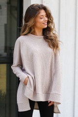 Taupe - Dress Up model wearing an Oversized Brushed Knit Sweater